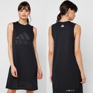 ADIDAS   Mesh-Overlay Logo Tank Black Dress XS